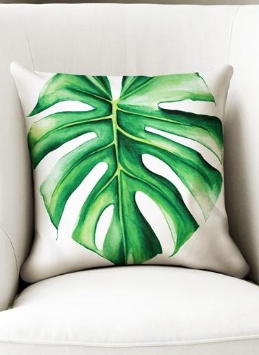 Lyn Home & Decor Yeşil Büyük Tek Yaprak Yastık Kılıfı Renkli